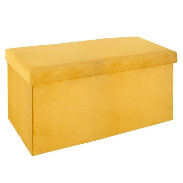 pouf pliant double tess jaune moutarde