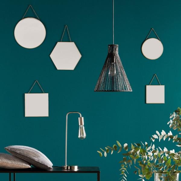 Lot De 3 Miroirs Hexa Noir Decoration Murale Eminza