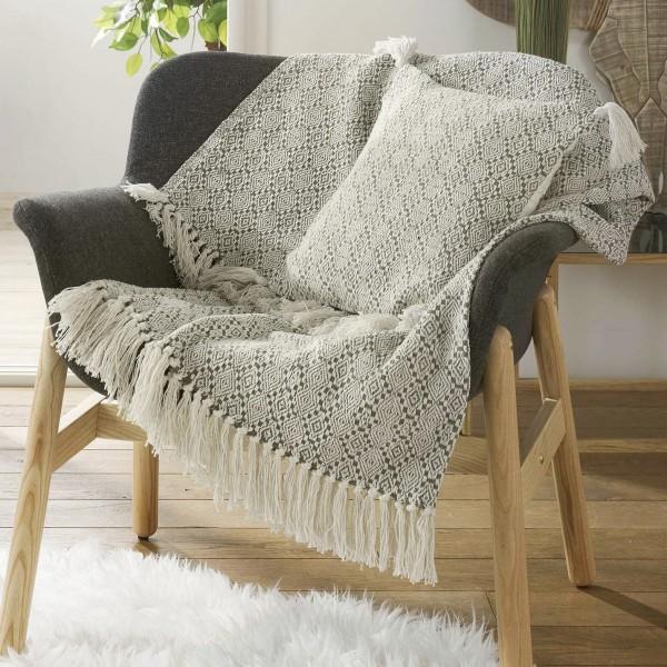 Jete De Canape 150 Cm Solys Gris Deco Textile Eminza
