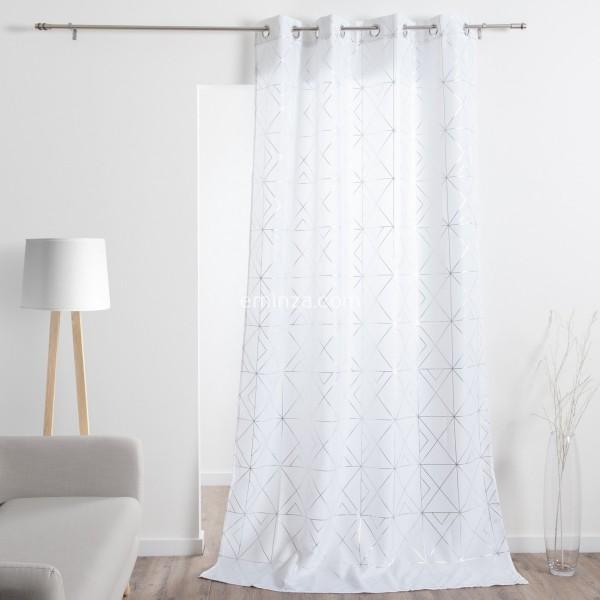 rideau tamisant 140 x 280 cm quadris blanc
