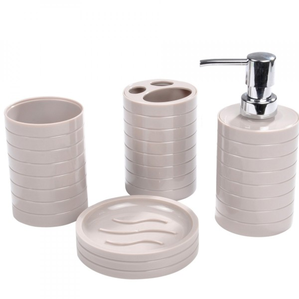 kit d accessoires de salle de bain strie taupe