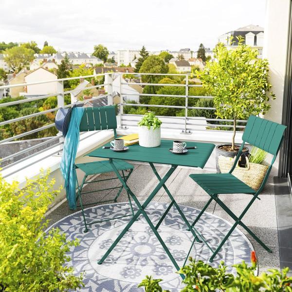 table de jardin pliante rectangulaire metal nasca 71 x 52 cm vert yucca