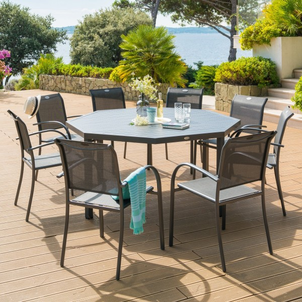table de jardin aluminium piazza octogonale gris graphite