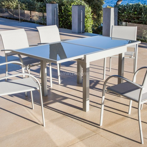 table de jardin extensible 8 places en verre murano 180 x 90 cm silver