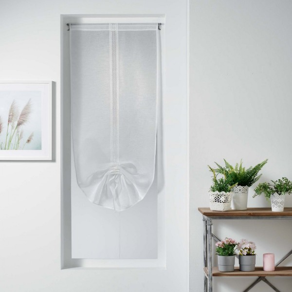 store voilage droit 60 x 150 cm macramina blanc