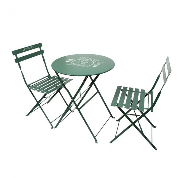 table de jardin pliante ronde metal avec chaises pliantes vert
