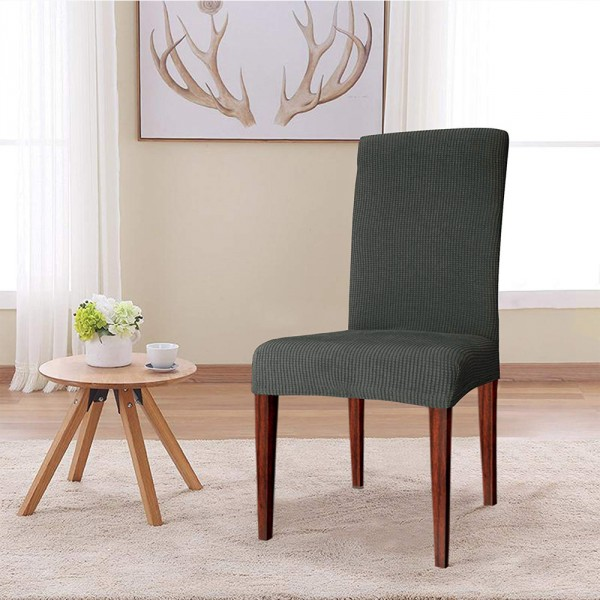 housse de chaise extensible prisca gris acier