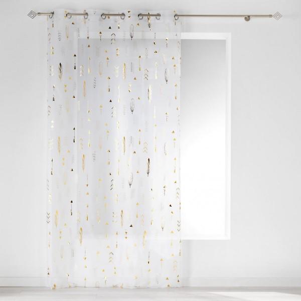 voilage 140 x 240 cm flechea blanc et or