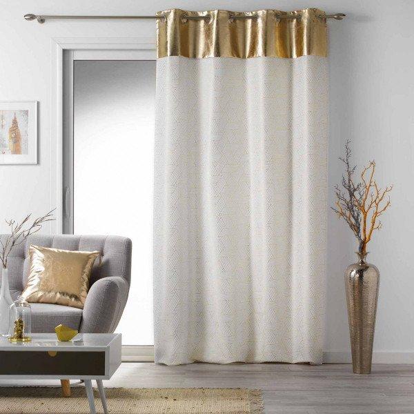 rideau tamisant 140 x 240 cm luxury blanc et or