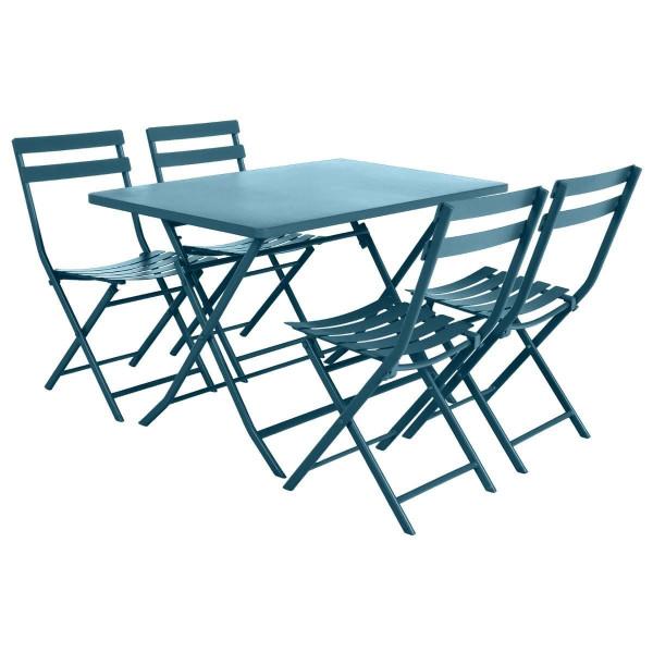 table de jardin rectangulaire pliante metal greensboro 110 x 70 cm bleu canard