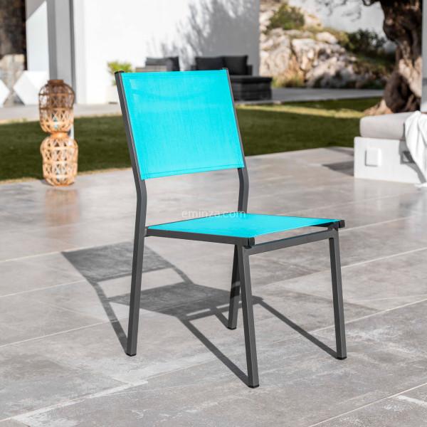 chaise de jardin alu empilable murano gris anthracite bleu