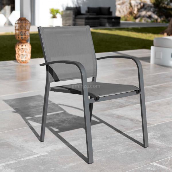 fauteuil de jardin alu empilable murano gris anthracite