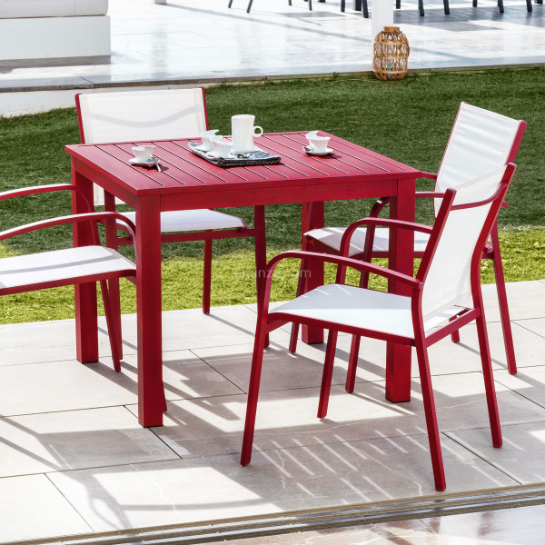 table de jardin 4 places aluminium murano 89 x 89 cm rouge