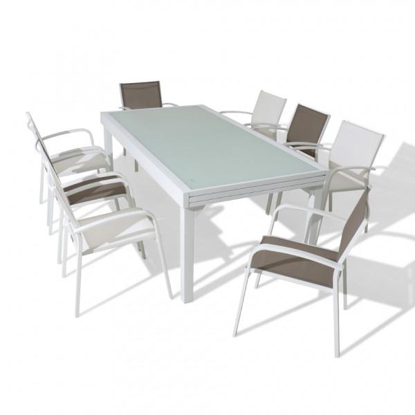 table de jardin extensible 12 places en verre murano 320 x 100 cm blanche