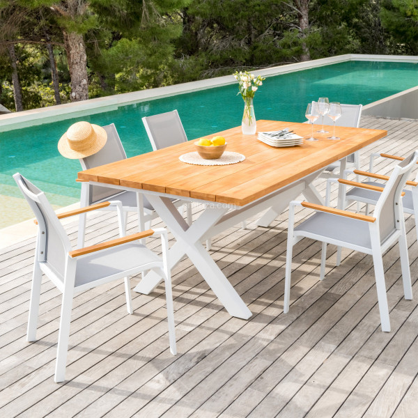 table de jardin rectangulaire alu bois ko samui 200 x 100 cm blanche