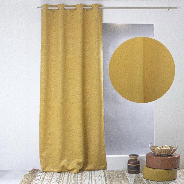rideau occultant 140 x 240 cm losange jaune moutarde