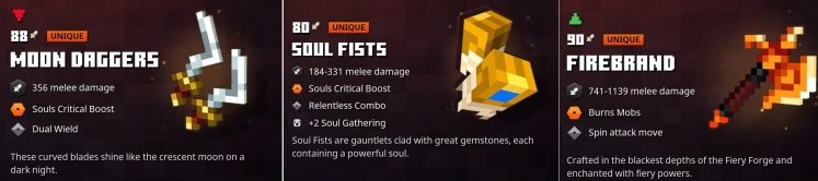 Minecraft Dungeons Top Weapons