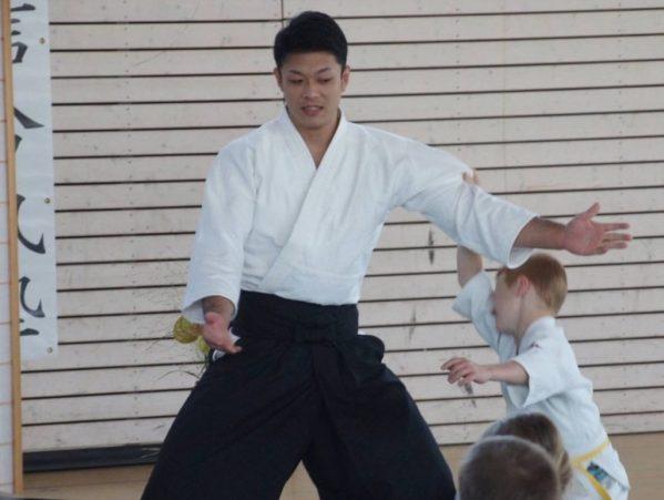 Waka Sensei performs morote dori kokyu ho with the children's class.