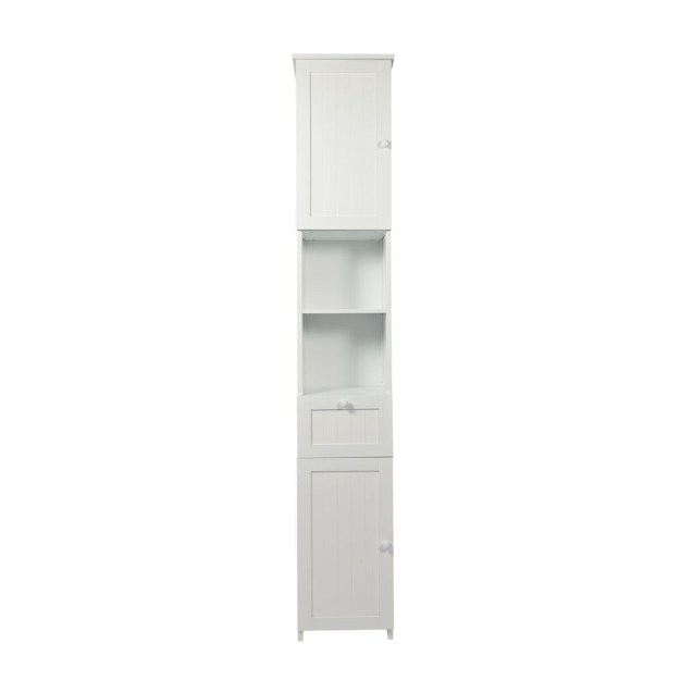 woodluv slim shaker tall boy free standing bathroom storage cabinet