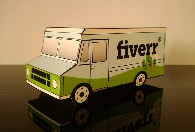 papercraft-ups style-delivery van-papertrucklogo