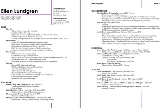 Two Page Resumes Format. two page resume template volumetrics co ...