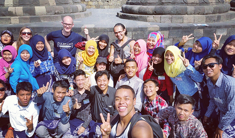 English teacher with students