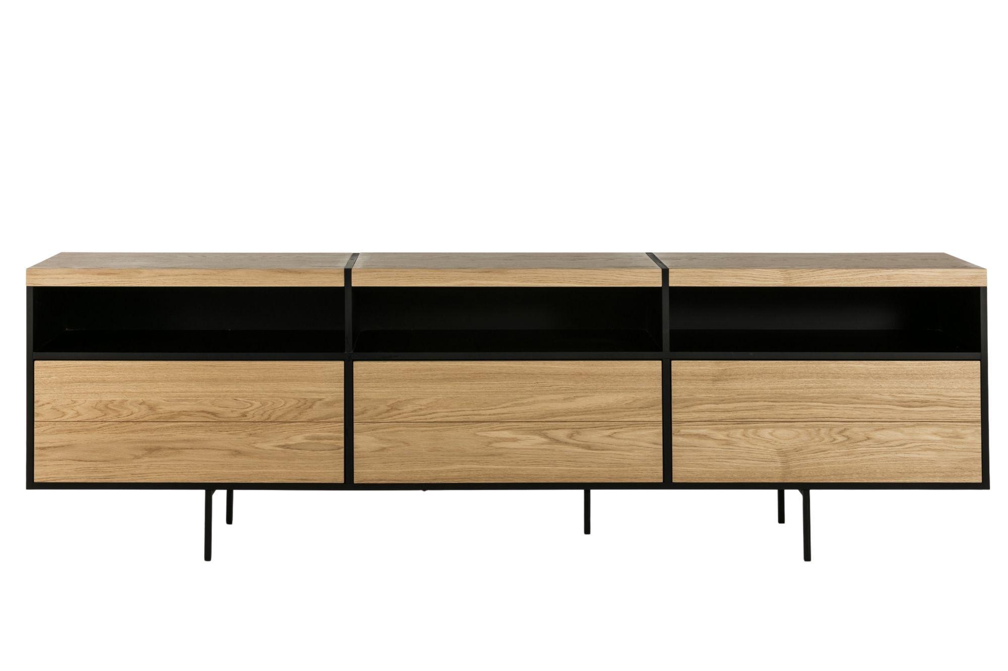 meuble tv bas moderne de rangement en bois et metal hellin