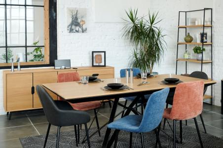 table en bois extensible bois metal l200 292 spider