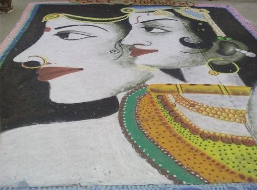 Free Hand Rangoli Designs for Janmashtami