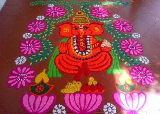 Rangoli Designs of God Ganesh