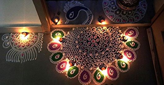 Peacock Border Rangoli Designs
