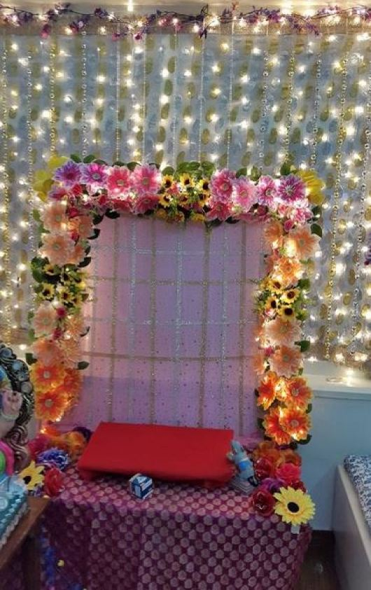 Ganesh Pooja Mandap Decoration with Flowers