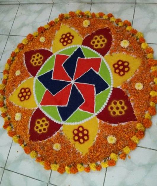 Rangoli Designs with Flowers and Colors
