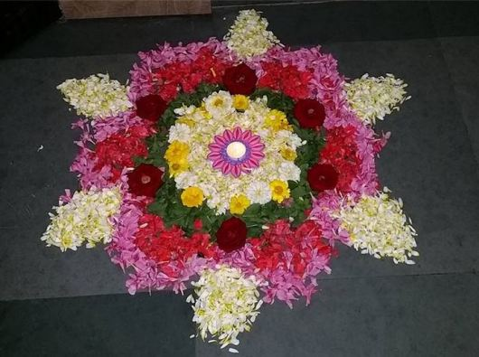 Easy Flower Rangoli Designs and Patterns