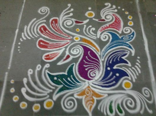 Peacock Rangoli Designs without Dots