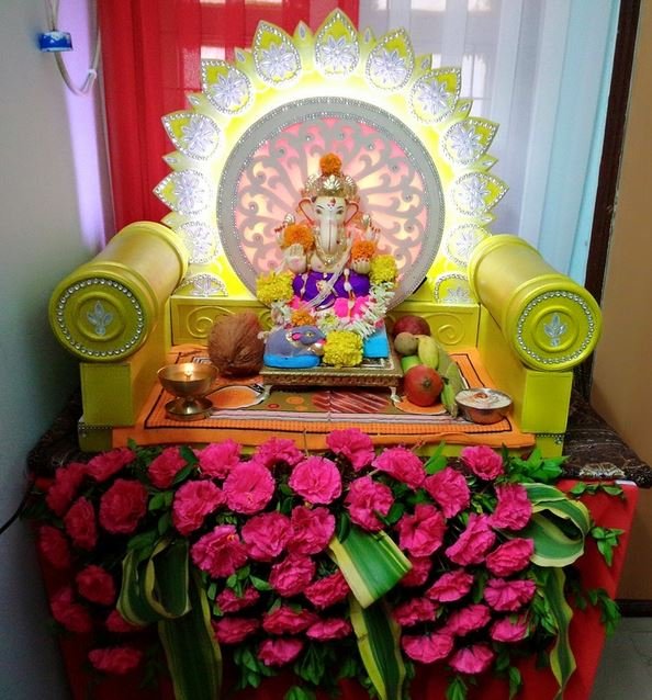 Ganpati Decoration Ideas With Thermocol Homemade