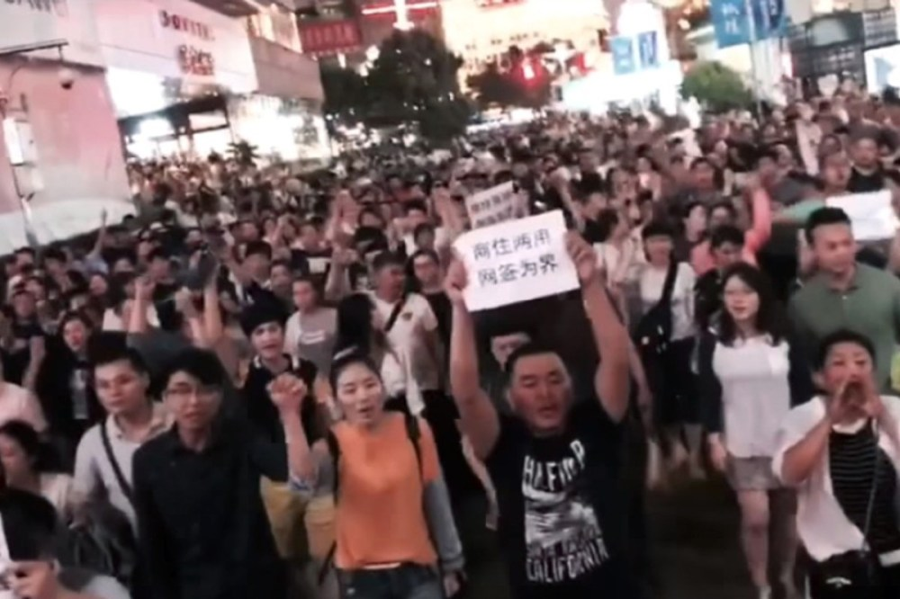 Demonstrators pictured in Nanjing Road in Shanghai on Saturday night. Photo: Handout