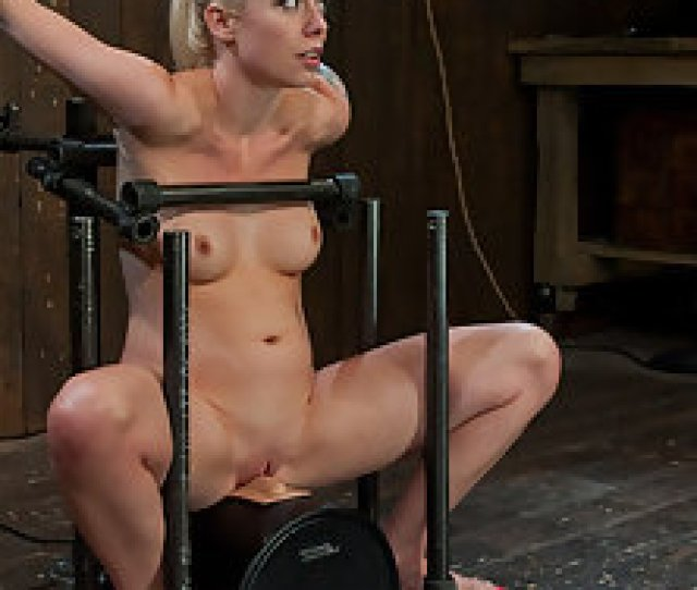 Beautiful Girl Next Door Blond Trapped And Bound On The Most Powerful Vibrator In The