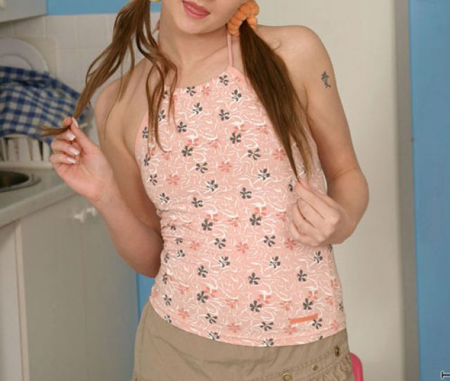Pigtail Teen Is Stripping Her Dress With Panty And Rubbing Her Cute Boobs