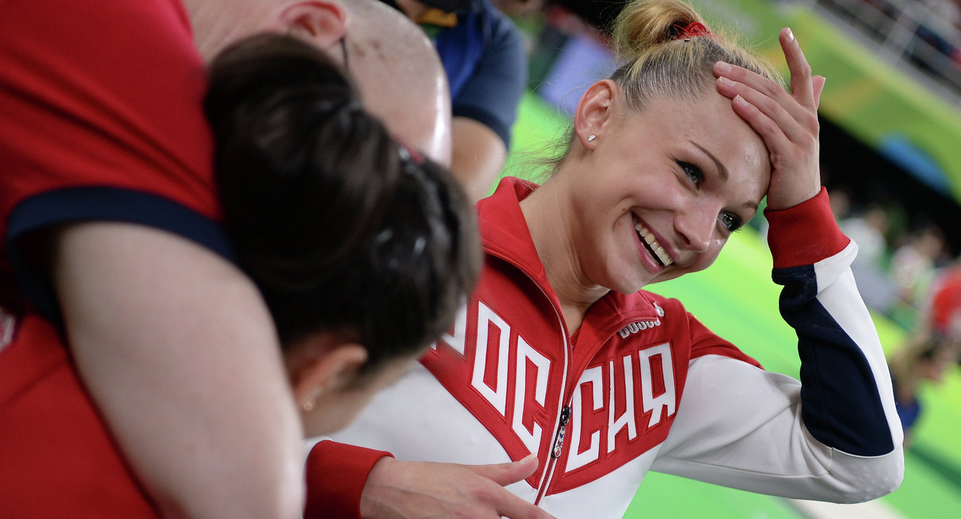 Russian athletes in gymnastics  Olympic champions in