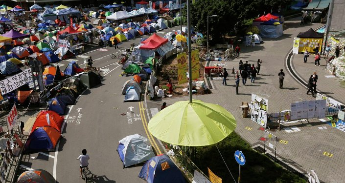 Protester's camp in Hong Kong