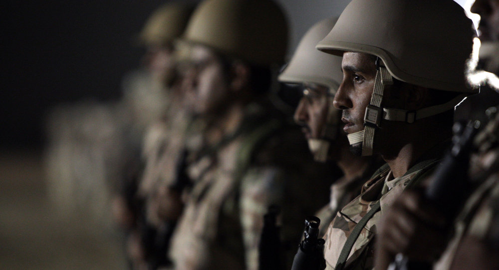 Saudi special force units attached to the Ministry of Interior stand in line during training in al-Haytheiyah, 100 kms north of Riyadh, on June 9, 2010