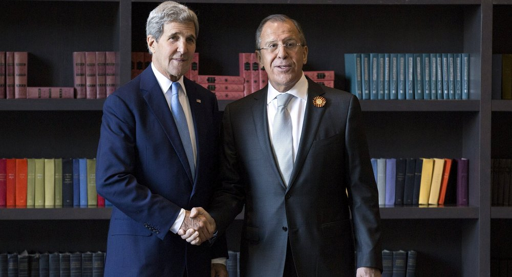 US Secretary of State John Kerry (L) shakes hands with Russian Foreign Secretary Sergey Lavrov before a bilateral meeting in Sochi, Russia