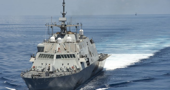 Littoral combat ship USS conducts routine patrols in international waters of the South China Sea