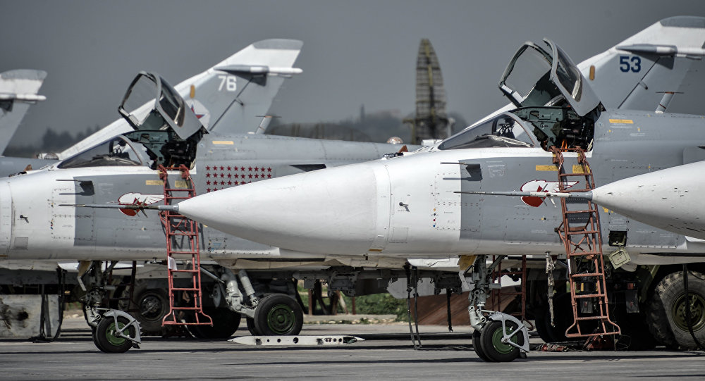 Russian Su-24 tactical bombers at the Hmeimim airbase in the Latakia Governorate of Syria