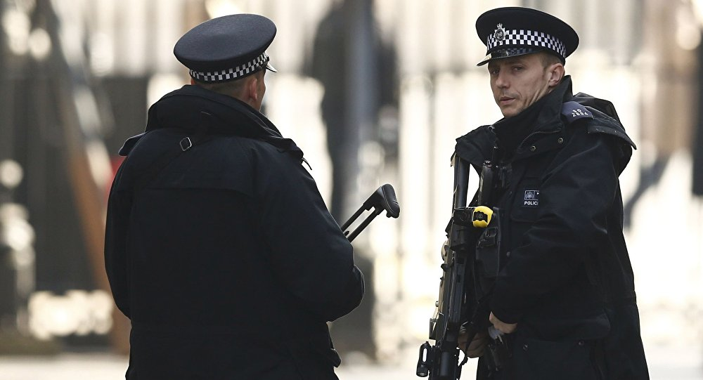 Armed police stand on guard at Downing Street in London, Britain March 22, 2016. Britain's Prime Minister David Cameron said he would chair a crisis response meeting following explosions in Brussels on Tuesday.
