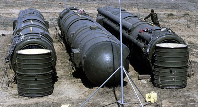 A bundle of three Soviet RSD-10 missiles prepared for demolition at the Kapustin Yar launch site. The missiles were destroyed in accordance with the INF Treaty.