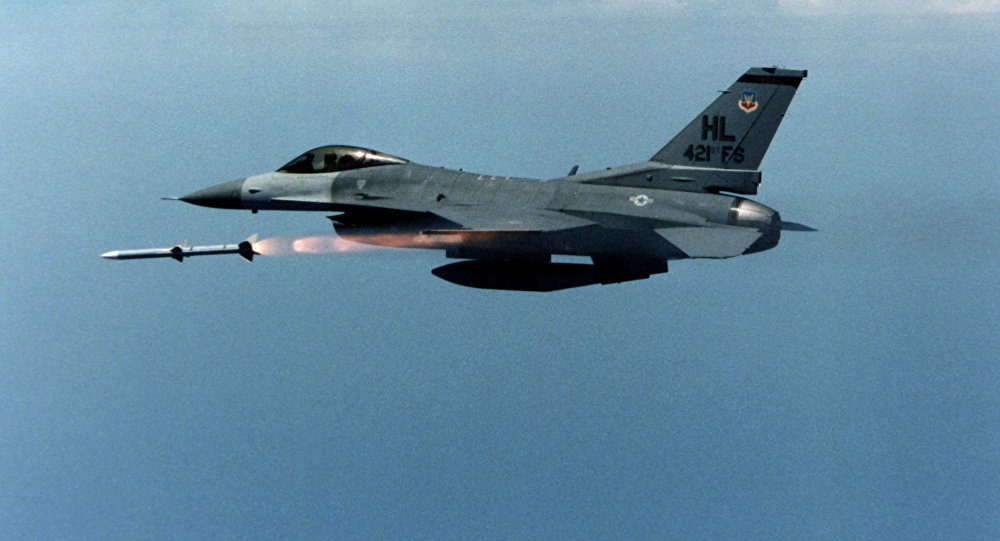 US air force F-16 jet fighter