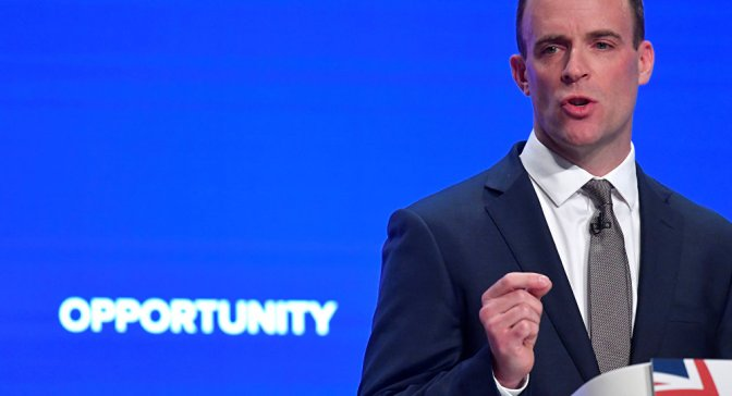 Image result for Britain's Secretary of State for Exiting the European Union Dominic Raab