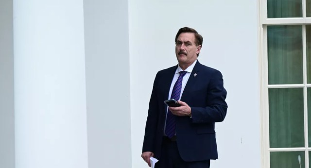 Mike Lindell, CEO of My Pillow, stands outside the West Wing of the White House in Washington, U.S., January 15, 2021